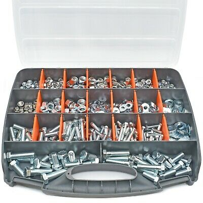 714 Assorted Piece Unf Fine Thread Zinc Imperial Nyloc, Nut, Bolt & Washer Kit