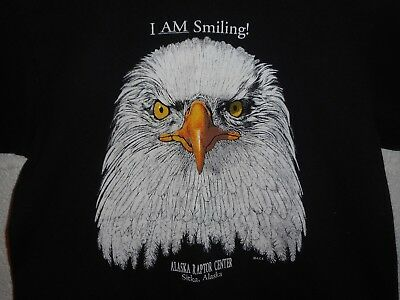 Vintage Alaska Raptor Center Sitka Eagle I Am Smiling T-Shirt Youth Medium