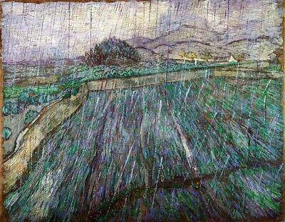 Wheat Field in Rain Painting by Vincent van Gogh Art Reproduction