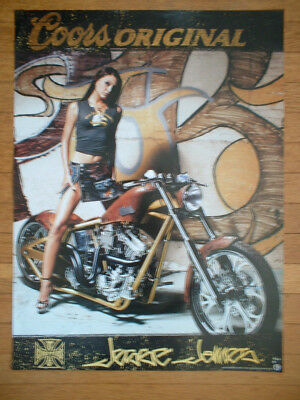 Coors beer West Coast Choppers Jesse James biker girl 19 X 24 inch poster NEW!!
