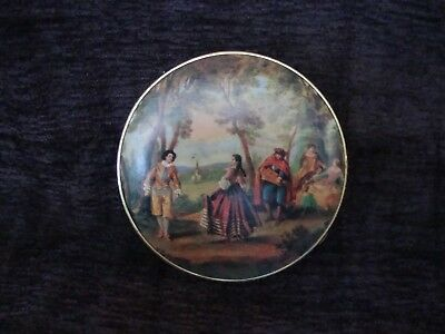 Victorian Themed Compact Mirror West Germany 1960' Brass Lovely Patina