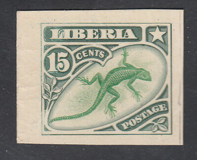 Liberia # 105 MINT Emerald/Green Color Trial on Card Fauna Lizard (NG As Always)