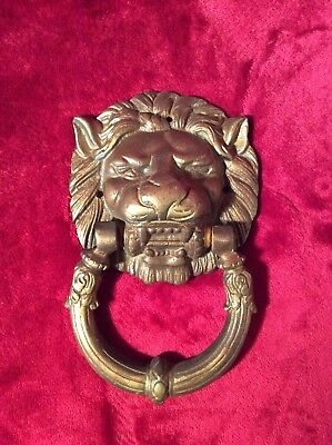 "Vintage Brass Lion Head Face Door Knocker 7"" x 4-1/4"" Heavy 1lb 9.5oz Ver Patina"