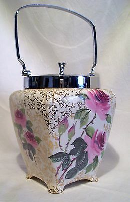 VINTAGE MIDWINTER PORCELAIN BISCUIT BARREL FLORAL made in ENGLAND