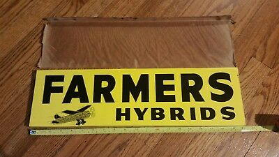 Farmers Hybrids Seed Corn Spinner Sign Airplane NOS Double Sided