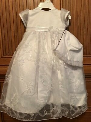 Infant Baptism Christening Gown w Bonnet NEW Size 0-3 months, 6-9 mo or 9-12 mo