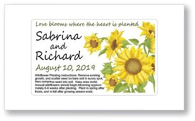 sunflower wedding bridal shower favors seed packets personalized garden rustic