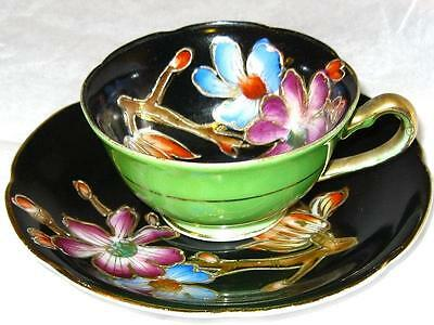 Occupied Japan ETCHED GOLD FLORAL LIME GREEN HAND PAINTED DEMI Cup and Saucer