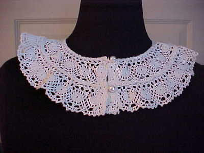 "Womens Collar 2 Rows of Cluney Lace White Two Mother of Pearl Buttons 3"" Width"