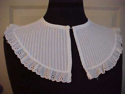 "Womens Collar Cotton White Tucked Eyelet Trim One Button 5 3/4"" Width"
