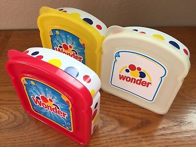 WONDER BREAD SANDWICH CONTAINER Lot of 3 RED YELLOW WHITE