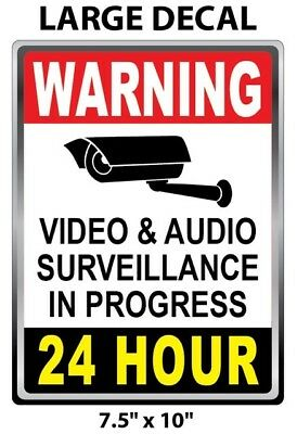 LARGE SIZE - CCTV Surveillance Security Camera Video Sticker Warning Decal Signs