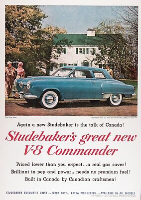 1951 STUDEBAKER COMMANDER COUPE Vintage Advertisement ~ RARE CDN Ad