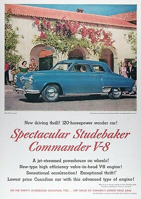 1952 STUDEBAKER COMMANDER COUPE Genuine Vintage Advertisement ~ RARE CDN Ad