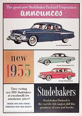 1955 STUDEBAKER PRESIDENT CHAMPION Vintage Advertisement ~ RARE CDN Ad