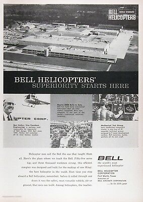 1960 BELL HELICOPTER FORT WORTH TX (2) Vintage Advertisements ~ RARE CDN Ads