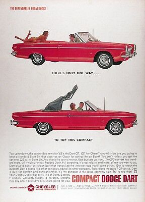 1963 DODGE DART GT CONVERTIBLE Genuine Vintage Advertisement ~ Great Thunder