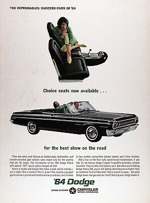 1964 DODGE POLARA 500 CONVERTIBLE Genuine Vintage Advertisement ~ Choice Seats