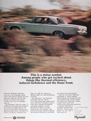 1965 PLYMOUTH BELVEDERE SATELLITE Genuine Vintage Advertisement ~ HEMI