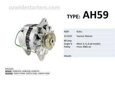 Yanmar alternator suit various 3, 4, 6 cyl models from 1982 on