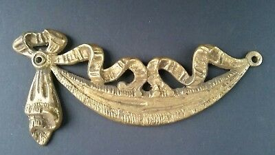 "Antique Vintage French Bronze Ormolu Furniture Pediment Decoration Swag 6"" #z1"