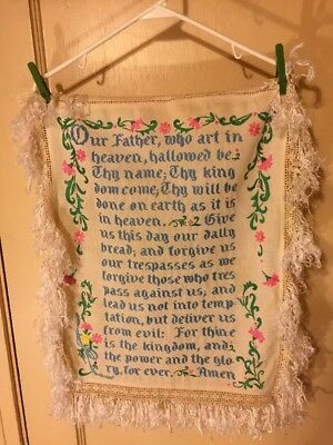 """Antique """"The Lord's Prayer"""" Embroidered & Crocheted Fringe Sampler  22""""L X 18"""" W"""