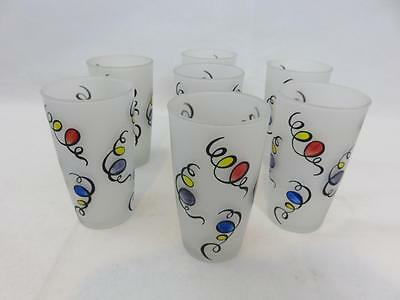 Set of 7 VINTAGE RETRO Frosted & Colorful Confetti DRINKING GLASSES Party Ballon