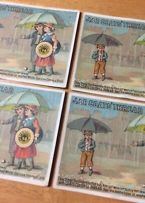 Lot 4 1880s J&P Coats' Thread Trade Cards Victorian Fast Black Antique Sewing