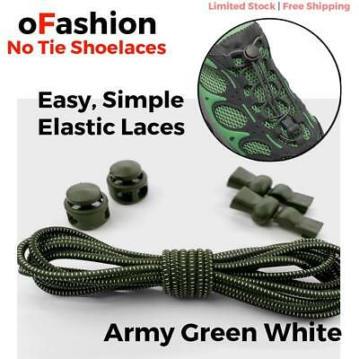 Elastic Shoe Lock Laces Sport Sneakers No Tie Lazy Shoelace Unsiex Army Green