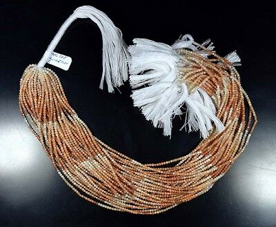 """2 Mm 13 """" 100%  Natural 10  Line Shaded Peach Moonstone Untreated Beads Strand"""