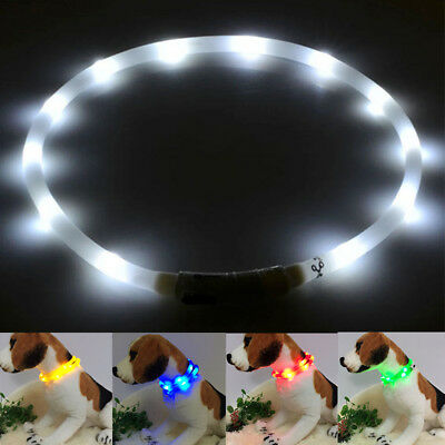 1PC Hot USB Rechargeable Pet Collar LED Light Band Waterproof Dog Safety Belt