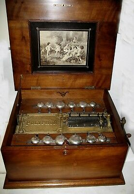 "Polyphon Double Comb 14-1/8"" Disc Music Box With 12 Bells  Regina"