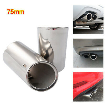 2pcs AUDI A4 Q5 Rear Muffler 75mm Stainless Steel Exhaust Tailpipes Tips Silver