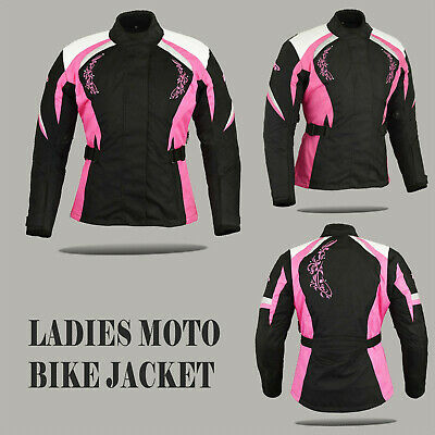 Pink Motorbike Ladies Codura Jacket Waterproof women Motocycle coat CE Armoured