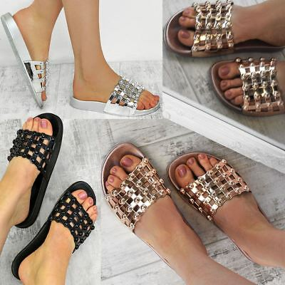 Womens Flat Summer Sandals Sliders Studded Slip On Comfort Open Toe Diamante New