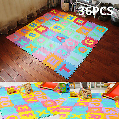 36pcs Baby Kids EVA Foam Floor Mat Alphabet Number Puzzle Play Interlocking AU