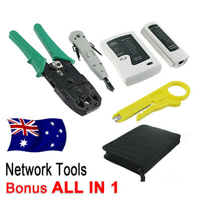 Lan Network Cable Tester Crimper Punch Down Tool Stripper 10 in 1 Kit CAT6 RJ45