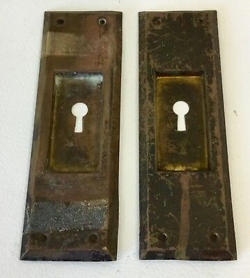 Antique Brass Door Knob Face Plates w Skeleton Key Hole Must See