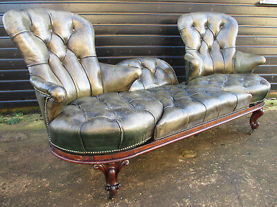 Unique Victorian deep button leather and rosewood swivel sofa cabriole legs (548