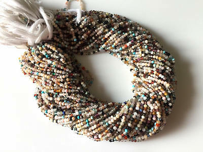 2mm Faceted Natural Multi Gemstones Round Rondelles Beads 13 Inch Strand GDS525