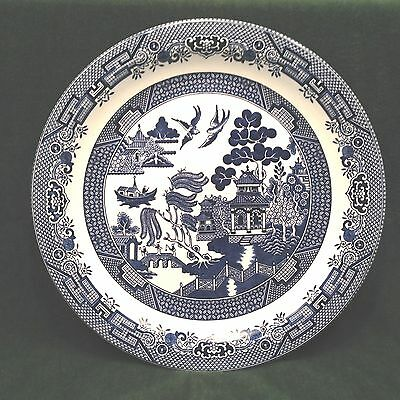 "Churchill England Blue Willow 12 1/2"" Round Chop Plate / Serving Platter"