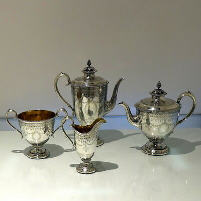 19th Century Antique Victorian Sterling Silver Four Piece Tea & Coffee Set
