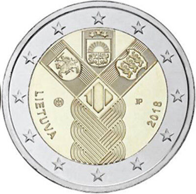 UNC €2 euro commemorative coin 2018 Lithuania, feature:100 Years of Independenc