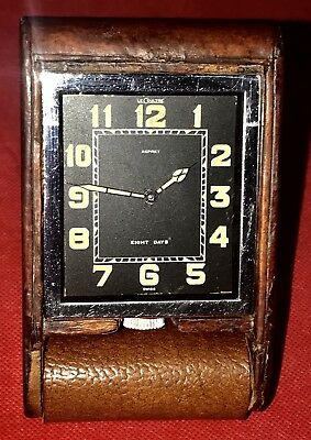 ⭐️c1920 Art Deco Jaeger Le Coutre  Swiss 8 Day Travel Clock Recently Serviced ⭐️