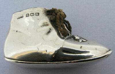 Antique Sterling Silver Novelty Baby Bootee Shoe Pincushion Hallmarked 1919