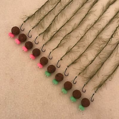 10 x WEED EFFECT HAIR RIGS LOADED WITH 15MM THE CRAVE BOILIES FLYNSCOTMAN COARSE