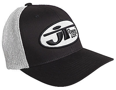 JT Racing USA™ Oval Logo Black/White Cotton Blend Trucker Hat S/M-L/XL