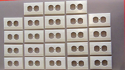 Vtg 1-4 Leviton Ivory Bakelite? Receptacle Cover-Striated Ribbed-Very Good Cond
