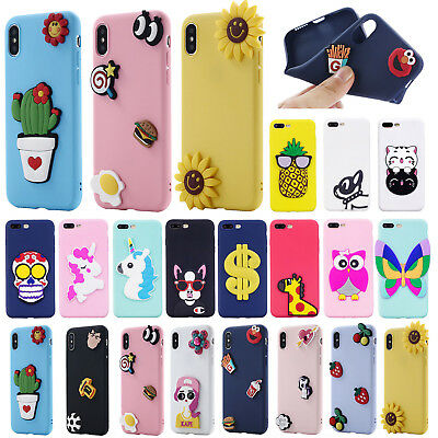 For iPhone X/8/7/6S Plus 5s Cute 3D Cartoon Soft Silicone Rubber Back Case Cover