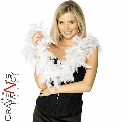 White Feather Boa 1920s 20s Accessory 150cms Flapper Charleston Fancy Dress New